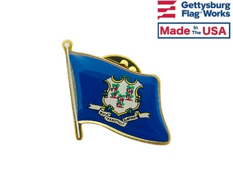 Enamel Pin Hand Painted Connecticut State Blue Quarter Coin Lapel Pin Tie Tack Travel Souvenir Coins Keepsakes Cool Fun Comes with Gift Box
