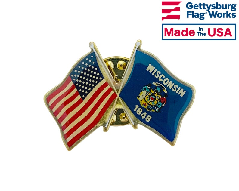 Made in USA! Wisconsin and U.S Double Waving Crossed Flags Friendship Lapel Pin