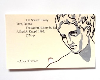 The Secret History Library Card Art - Print of my painting on library card