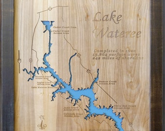 Lake Hartwell GA & SC Wood Laser Cut Topographical Engraved | Etsy