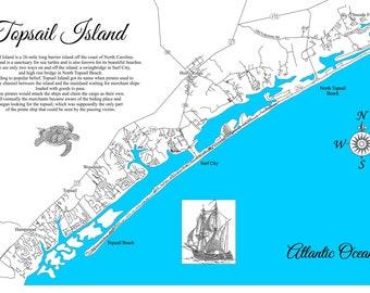 Topsail Nc Map Etsy
