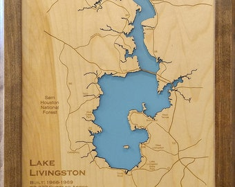 Nolin River Lake KY wood laser cut engraved lake map wall   Etsy on
