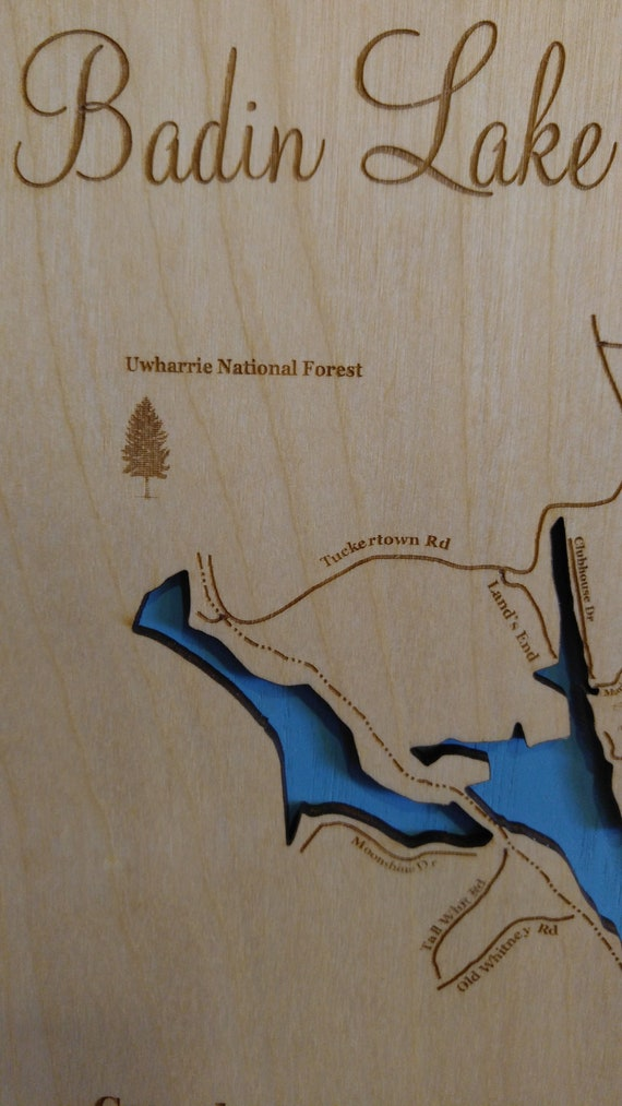 Badin Lake, NC Wood Laser Cut Topographical Engraved Map