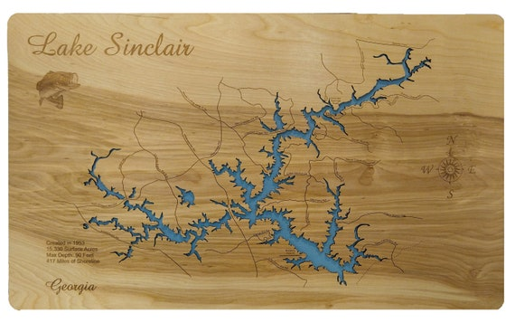 Lake Sinclair, Georgia Wood Laser Cut Topographical Engraved Map on vintage topo map, united states topo map, cedar creek topo map, lake sinclair georgia map, oconee national forest topo map, ga power lake sinclair map, lake sinclair history,
