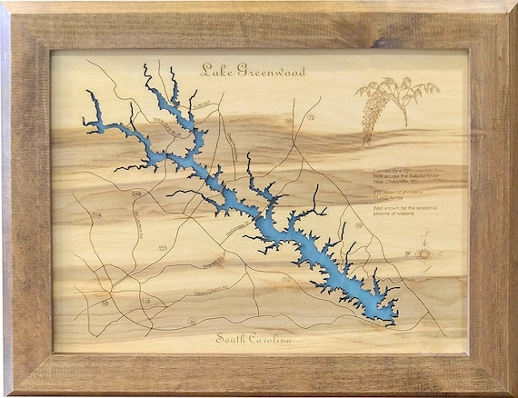 Lake Greenwood, South Carolina Wood Laser Cut Topographical Engraved on gps lake maps, aerial lake maps, navionics lake maps, usgs lake maps, best 2014 lake fork tx maps, hume lake california hunting maps, europe lake maps, dnr lake maps, lake contour maps, national geographic maps, tennessee river navigation chart maps, satellite lake maps, texoma topography maps, campground site maps,
