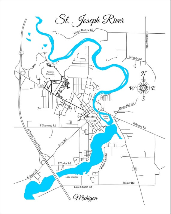 Wood Laser Cut Map of the St. Joseph River Berrien Springs | Etsy