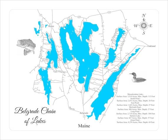 Wood Laser Cut Map Of Belgrade Lakes Engraved Map Etsy