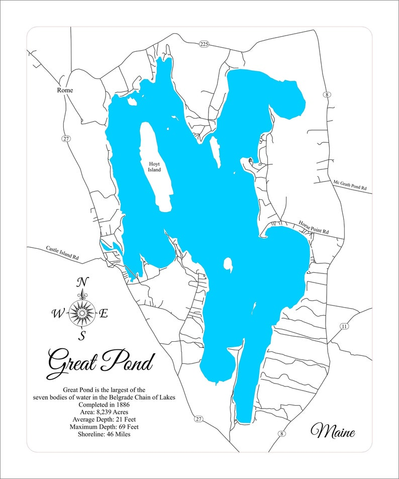 Wood Laser Cut Map Of Great Pond Lake Maine Engraved Map Etsy