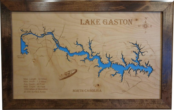 Gaston Nc Map.Wood Laser Cut Map Of Lake Gaston Nc Topographical Engraved Etsy