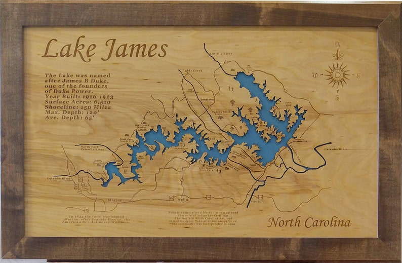Wood Laser Cut Map of Lake James NC Topographical Engraved | Etsy on