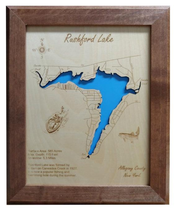 rushford lake ny map Rushford Lake New York Wood Laser Cut Engraved Map Etsy rushford lake ny map