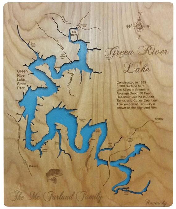 green river lake map Wood Laser Cut Map Of Green River Lake Ky Topographical Etsy green river lake map