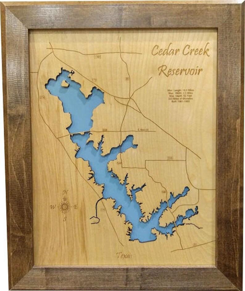 Cedar Creek Reservoir, Texas Topographical wood laser cut Engraved on