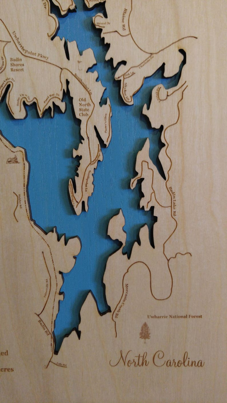 Wood Laser Cut Map of Badin Lake, NC Topographical Engraved Map