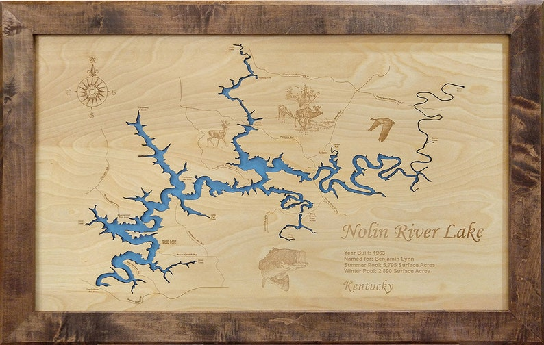 Nolin River Lake, KY wood laser cut engraved lake map wall hanging on