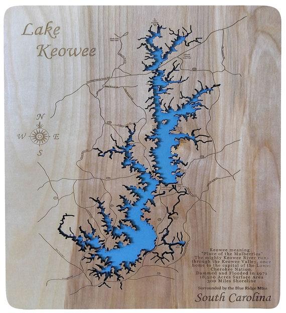 map of lake keowee Lake Keowee S C Wood Laser Cut Topographical Engraved Map Etsy map of lake keowee