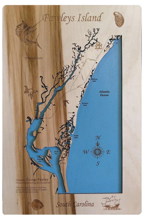 Pawleys Island South Carolina Map.Pawleys Island South Carolina Wooden Laser Engraved Coastal Etsy