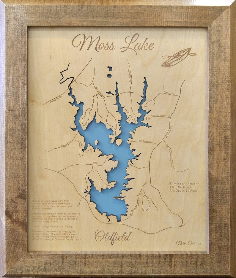 Wood Laser Cut Map of Moss Lake, North Carolina Topographical Engraved Map