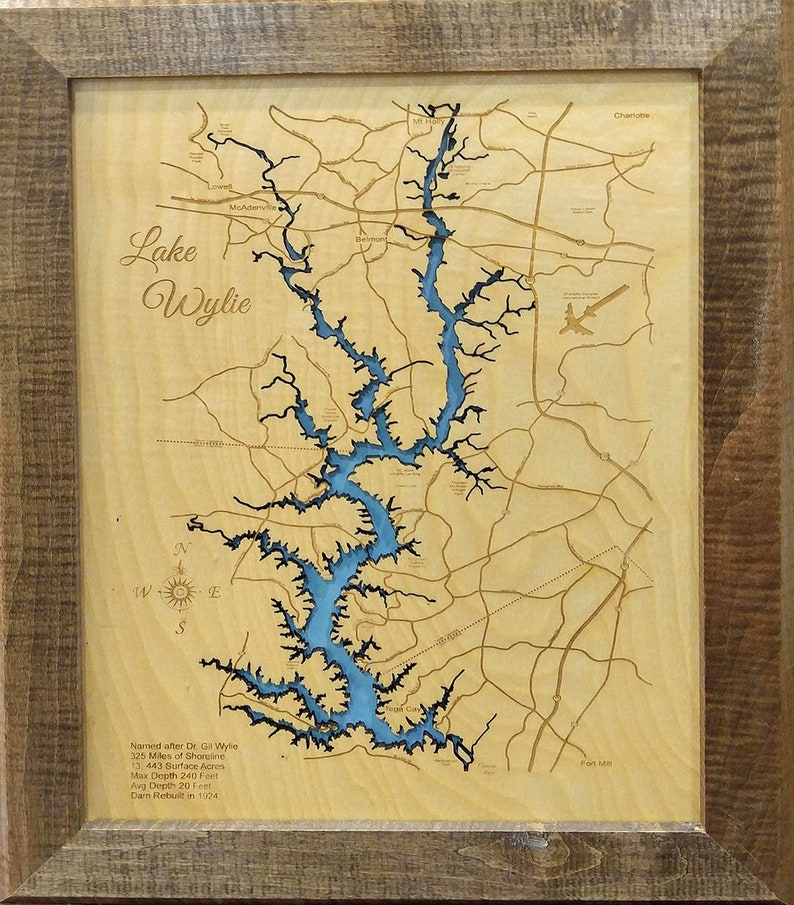 S.C. Wood Laser Cut Map of Lake Keowee
