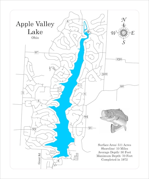 Wood Laser Cut Map Of Apple Valley Lake Ohio Engraved Map Etsy