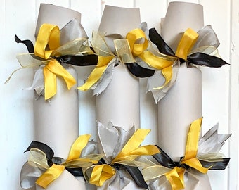 NEW! Gray and Yellow Wedding Party Cracker   Set of 6