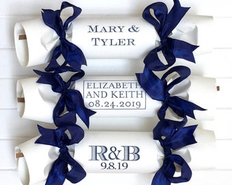 Set of 10 Monogramed Wedding Party Cracker