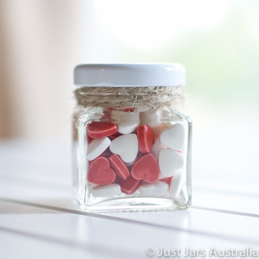 144 x 50ml mini square glass jars White / Black / Gold /