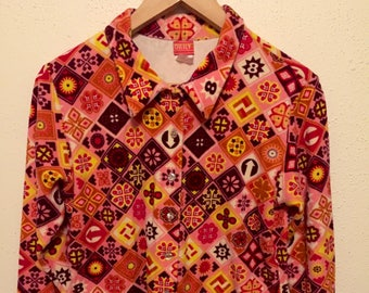 VINTAGE 1970's Velour Bold Psychedelic PRINTED Button Up SHIRT