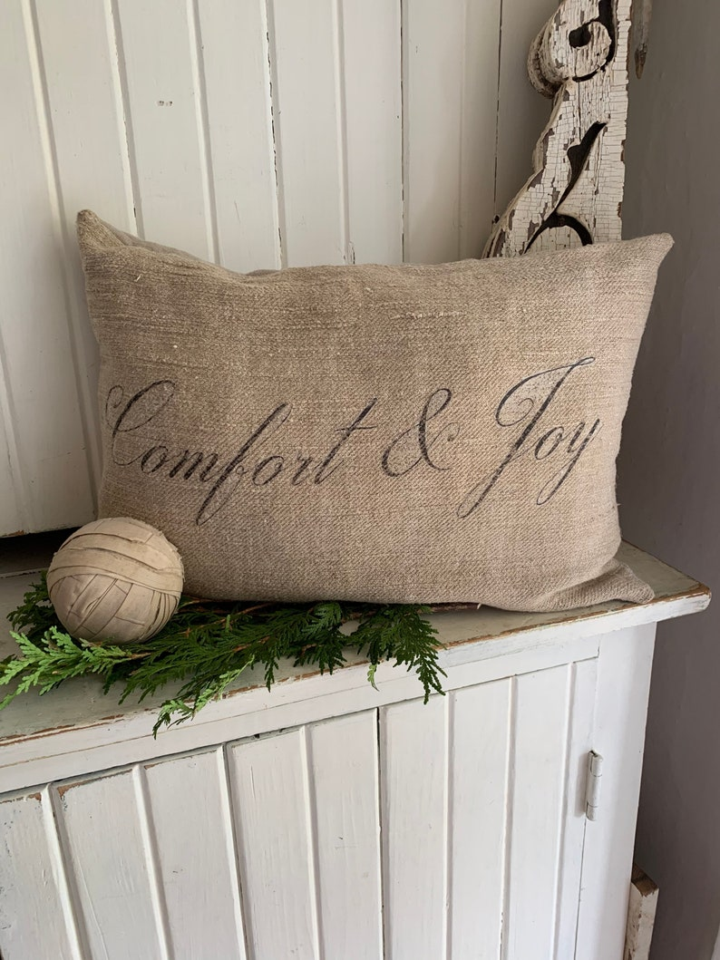 Antique Grain Sack Christmas Pillow Comfort & Joy. #christmasdecor #pillow #frenchcountry