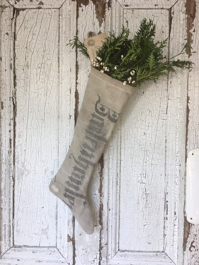 Antique Grainsack Primitive Stenciled Stocking for holiday and Christmas decor. #holidaydecor #handmade #stockings #christmasdecorating