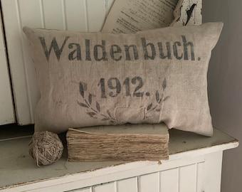 Antique Grainsack Pillow w/Authentic Lettering/1912/German Grainsack/ 1800's textile