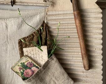 Antique Grainsack Ditty Bag Brown