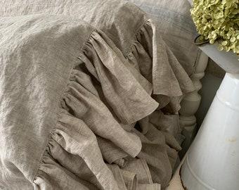 Ruffled Linen Pillowcase Sham