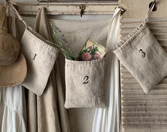 Antique Grainsack~ Triple Pocket/primitive pocket/ primitive pouch/primitive bag/1800's linen