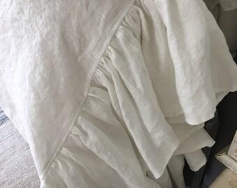 Ruffled Linen Pillowcase Sham~White/ shabby chic pillow/ white farmhouse