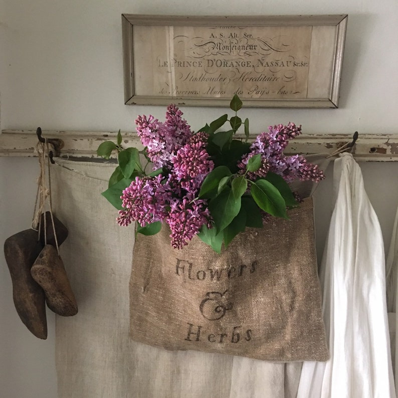 Antique grainsack pocket Flowers & Seeds - what a lovely vintage style handmade home decor find. COME CHECK OUT these gorgeous Etsy handmade decor finds for the home!