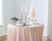 """Champagne Sequin Tablecloths, Sequin Overlays,  1 DAY SHIP 72"""" X 72"""", 90"""" x 90"""", 90"""", 108"""" , 120"""", 132""""  Champagne Blush"""