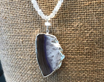 Long purple agate slice necklace