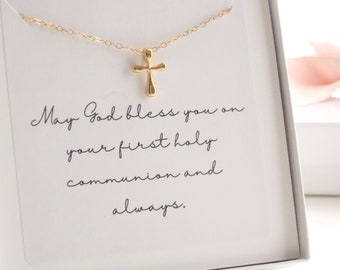 d4dcd40f9304 14kt Gold Filled or Sterling Silver First Holy Communion Cross Necklace.  Religious Jewelry