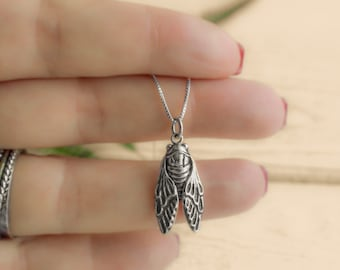 Sterling Silver or Gold Filled Cicada Necklace. Bug Jewelry, Cicada Jewelry, Transformation Necklace.