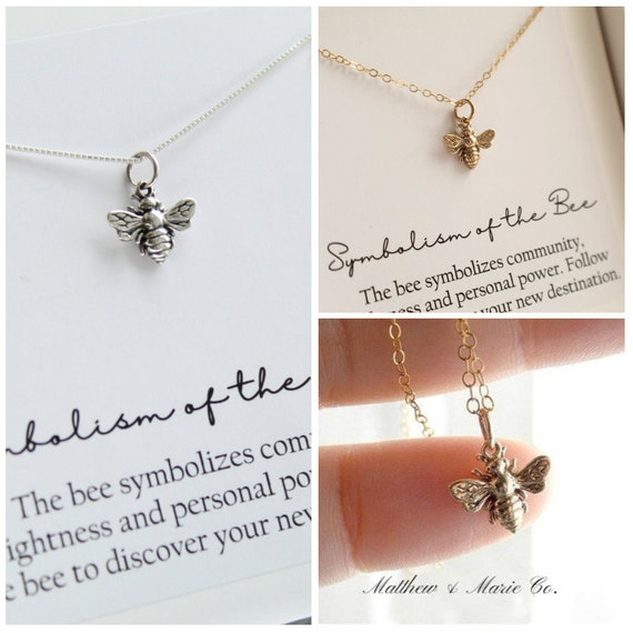 Tiny  Sparkly Sterling Silver Or Gold Filled  Bee Necklace. Bee Jewelry, Silver Bee, Bee Charm by Etsy