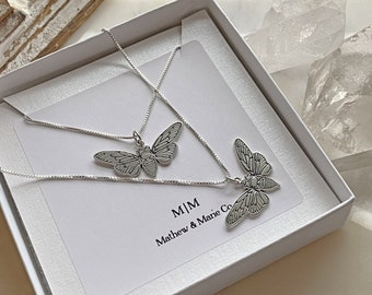 Sterling Silver Flat Cicada Necklace. Transformation Necklace, Cicada Jewelry, Bug Jewelry, Chain Choices!