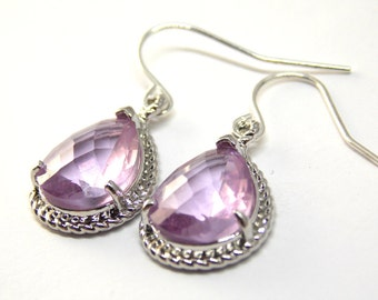 Lavender Earrings in Silver. wedding, bridesmaids, BFF, Gift for her.