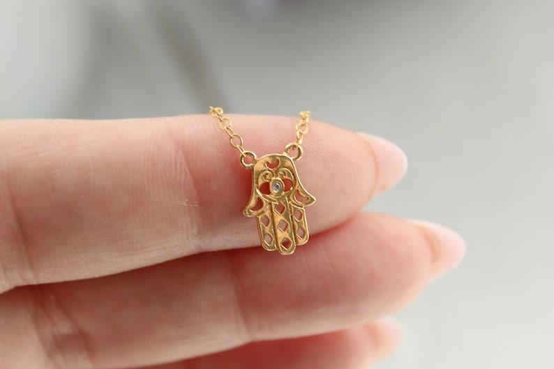 Hamsa Jewelry,Gold Filled Jewelry Lucky Jewelry Yoga Tenny Tiny CZ 14kt Gold Filled Hamsa  Necklace