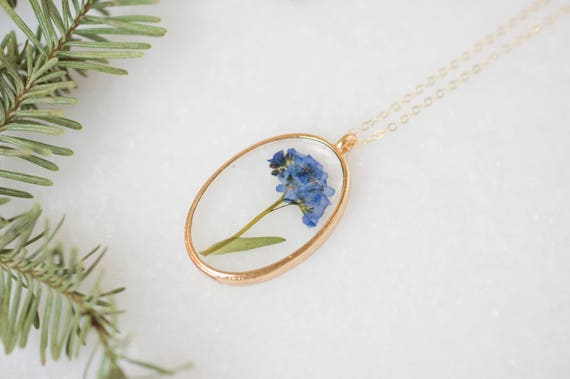 Oval Forget Me Not Pressed Flower Necklace, Essential Blooms Necklace by Etsy