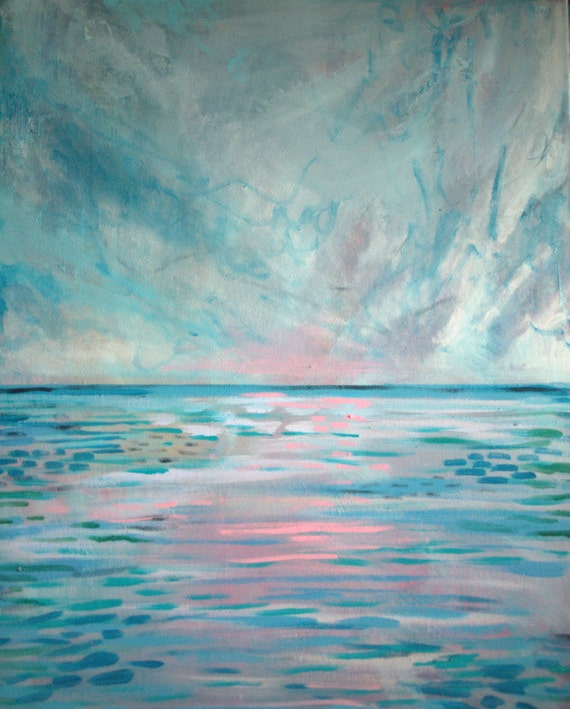 light and sea impressionist painting of ocean etsy