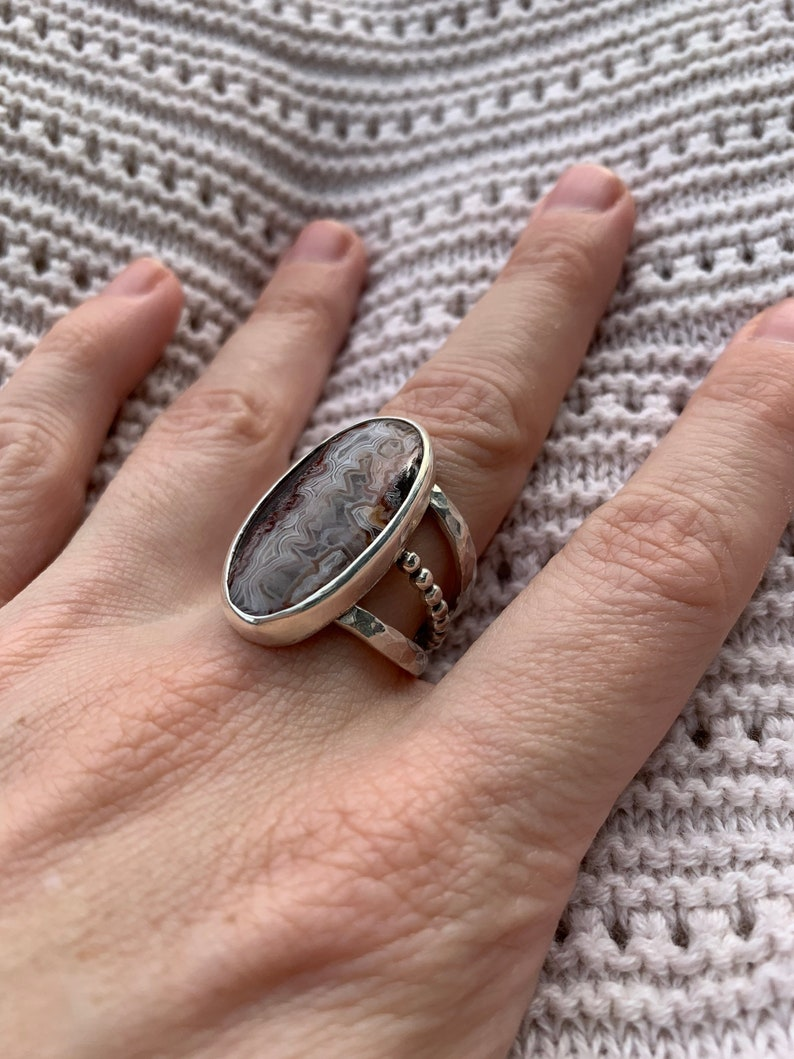 Artisan Ring Sterling and Fine Silver Statement Ring Big Oval Old Stock Crazy Lace Agate Ring Triple Band Ring