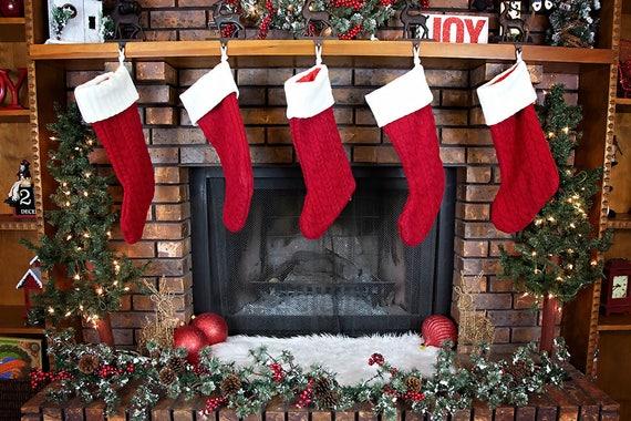Christmas Fireplace.Christmas Fireplace Digital Backdrop
