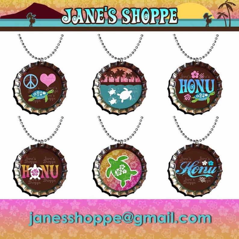 Keychains Zipper Pulls Charms Set 6  Party Favor Pack See Announcement for Coupons. Honu Turtle Love Hawaiian Hawaii Bottle Cap Necklaces