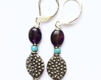 Purple Amethyst and Pewter Beaded Earrings On Silver Leverbacks